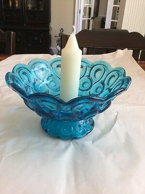 Rare Vintage Large Bowl Candleholder Blue Moon And Stars L.E. Smith
