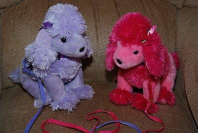Set of 2 TY Beanie Babies Pink & Purple Poodles w/ Leashes Stuffed Animals