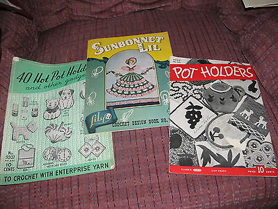 Lot of 3 vintage crochet pattern books pot holders great variety 1945, 1950