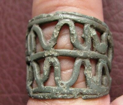 Authentic Ancient Artifact   Viking Bronze Openwork Wolf Tooth Ring VK 33