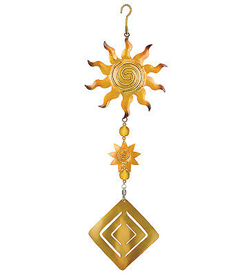 Golden Sun Twirly Hanging Garden Spinner NEW wind door yellow nature outdoor art