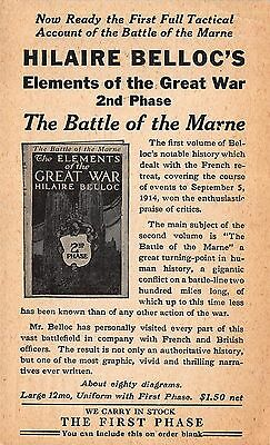 Advertising Postcard for Hilaire Belloc's Elements of the Great War Book~101225
