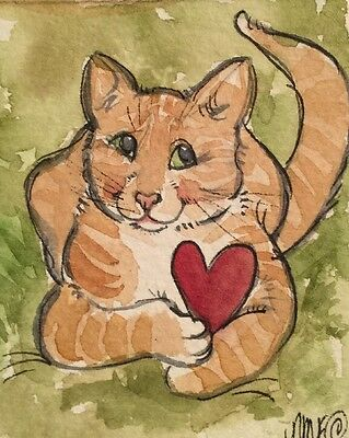 Cat With Heart Illustration. An Original Watercolor Original Art By NFISH