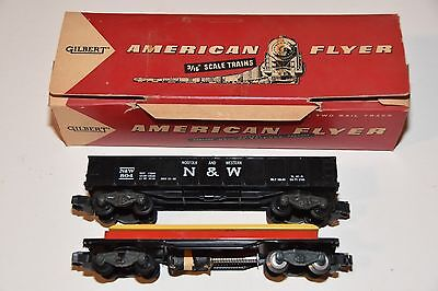 """2 pc vintage American Flyer freight train Gilbert 3/16"""" S Scale toy N&W 804"""