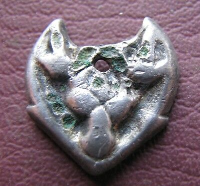 Authentic Ancient Artifact   Viking Silver Wolf Head Mount VK 27