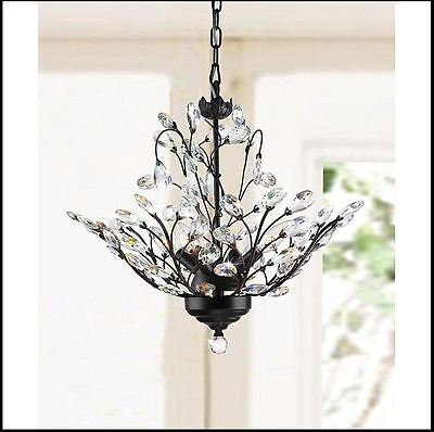 Antique Crystal Chandelier Looking Ceiling 4 Light Lamp Copper Flowers Hanging
