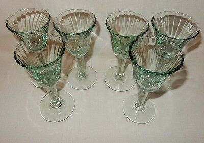 Set Of 6 Light Spanish Green Cordial Glasses Liqueurs Optic Hand Blown Goblets