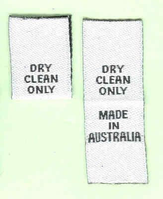 25 Care Labels Woven with Dry Clean Only Made in Australia - Black on White