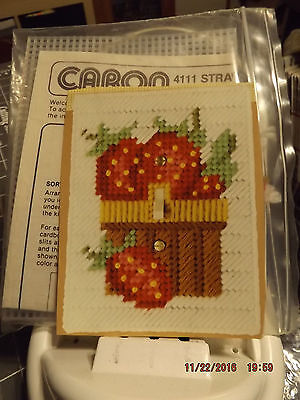 Lot of 2 Caron Plastic Canvas Kit Light Switch Covers - Strawberries