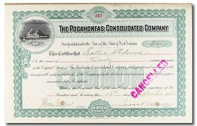 S049 Pocahontas Consolidated Company 1904 Stock Certificate Green