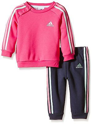 Size Cribs 3/6 Months - Adidas 3 Multi Stripes Jog Cribs Full Tracksuit - Pink