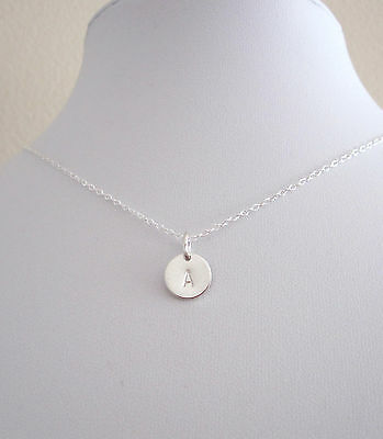 Solid sterling silver INITIAL LETTER 9mm disc coin necklace, any initial/number