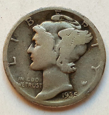 Usa Silver Coin One Dime 1935 United States Of America