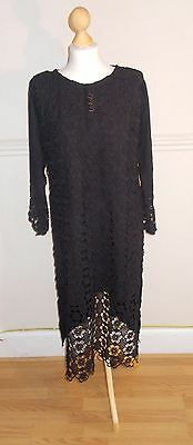 Ladies/Women/Girl's Pakistani/Indian Embroided Kurta /Kurti/ Full Black Crochet