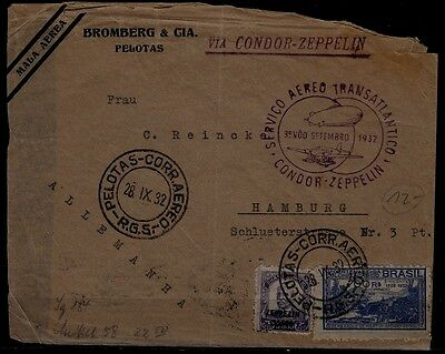 Brazil/Germany Zeppelin cover 28.9.32 poor condition