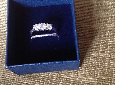 Wedding Ring Set Size N. Silver And C/z Stones