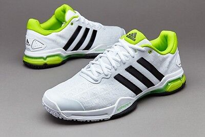 Adidas Barricade Club Tennis Shoes. White/Black/Green. UK 11.5 US 12 RRP £70