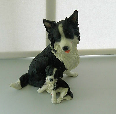 Border Collie Sheepdog With Pup Collectable Dog Ornament Figurine
