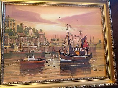 oil On Canvas brixham harbour Signed by w h stockman ( framed) Vgc