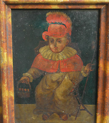 Interesting and rare Spanish Colonial painting with child, Peru