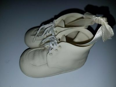 Vintage BABY'S 1ST CHRISTMAS ORNAMENT~CERAMIC BABY SHOES~BOOTIES