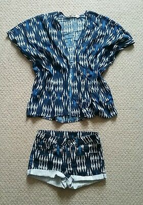 Girls Shorts and Kimono Matching Set From H&M, Blue, 8-10yrs, Vgc
