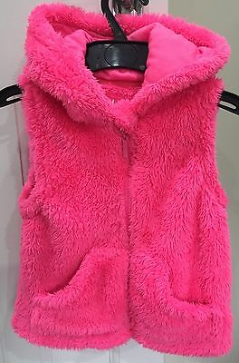 Girls Young Dimension/Primark Pink Fluffy Hooded Gilet Age 5-6