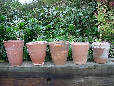 "5 Unsual  Old Hand Thrown  Tall Long Tom Plant Pots 5.5""- 4.25"" High  (93)"