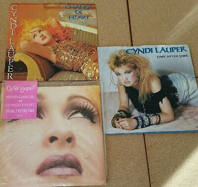 """2x CYNDI LAUPER 7""""singles inc RARE double pac What's going on & Change of heart"""