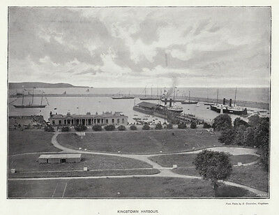 Kingston, Dun Laoghaire, harbour 1890s large photo view ready mounted SUPERB