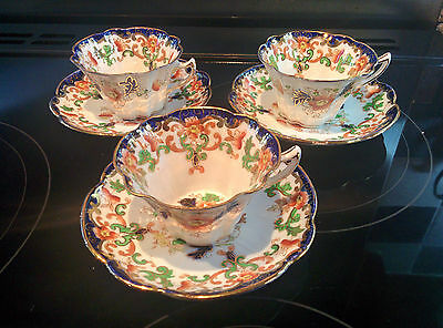 Antique Duchess china made by Edwards & Brown circa 1907 - 3 cups and saucers