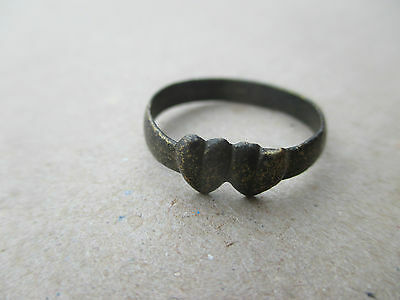 "Interesting medieval ring ""two hearts"". Kievan Rus 12-14 AD."