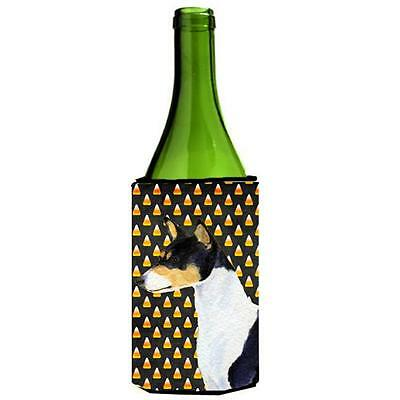 Basenji Candy Corn Halloween Portrait Wine Bottle Hugger 24 oz.