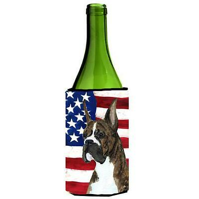 Carolines Treasures Usa American Flag With Boxer Wine Bottle Hugger 24 oz.