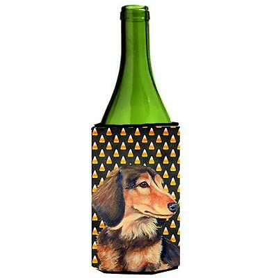 Dachshund Candy Corn Halloween Portrait Wine bottle sleeve Hugger 24 oz.