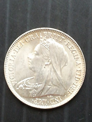 Uncirculated 1901 Victoria Silver Sixpence (United Kingdom)