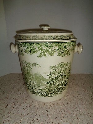 Antique Minton Green & White Chamber Pot  Made In England