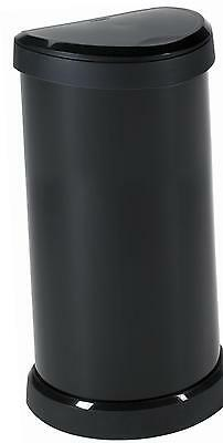 Curver 40 Litre Metal Look, One Touch Press Top Lid, Deco Bin, Black