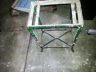 Vtg Plant Stand Wrought Iron Handmade Painted Chippy Rustic Shabby -Heavy