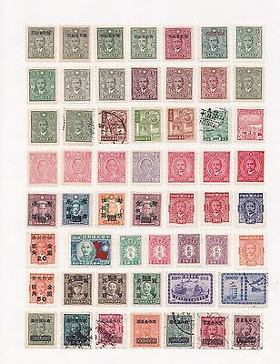 f China Selection of Used Chinese Stamps on Page