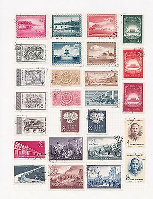 j China Selection of Used Chinese Stamps on Page