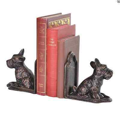 Pair Scottie Dog  Bookends Bronzed Antique finish aged effect