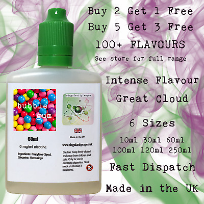 BUBBLEGUM - E Liquid Vape Juice eliquid Max VG Cloud Chaser 0mg - UK MADE