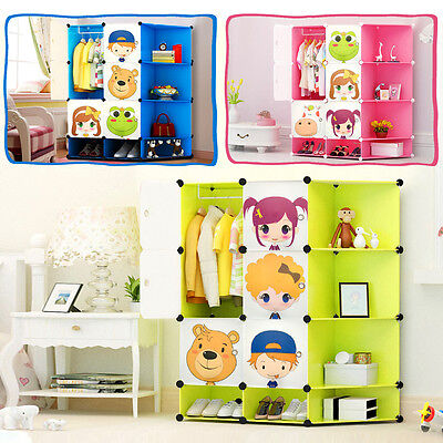Children Wardrobe Kid Character Design Cube Toy Clothes Shoes Storage Corner Box