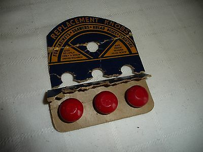 #730 vtg LOT of 3 replacement draw knobs painted RED cabinets bread box