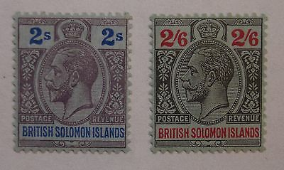 Solomon Islands: 1914-23 SG34 2s purple & blue; SG35 2s6d black & red. Fine mint