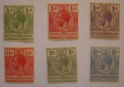Solomon Islands: 1922-31 SG39-44 ½d to 3d pale ulramarine. Fine mint.