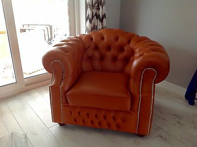 Burnt orange chesterfield leather club chair