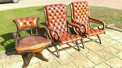 Captains chair and Chesterfield slipper chairs