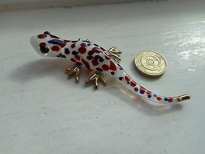 Gecko -Glass-  Miniature White/red/green, With Gold, Coloured Glass Gecko Lizard